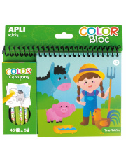 Kolorowanka z kredkami - Farma Apli Kids
