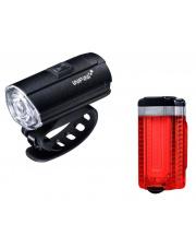 Zestaw lampek rowerowych Tron Set Black USB Infini
