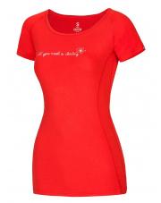 Damska koszulka sportowa Bamboo T Flower Flame Red Ocun