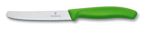 Nóż do pomidorów Victorinox zaokrąglony czubek, ząbkowany 11cm – zielony