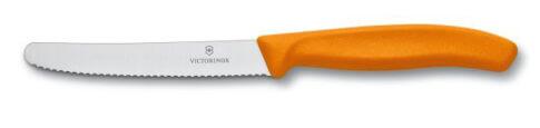 Nóż do pomidorów Victorinox zaokrąglony czubek, ząbkowany 11cm –pomarańczowy