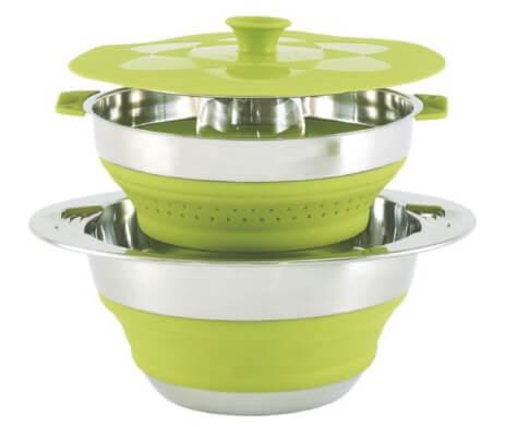 Miska składana z pokrywką i cedzakiem Outwell- Collaps Pot wcolander & lid 4.5 l Green
