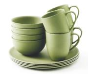 Zestaw obiadowy z bambusa Outwell – 4os. zielony - Bamboo Dinner Set 4
