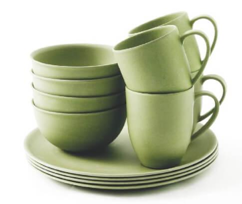 Zestaw obiadowy z bambusa Outwell – 4os. zielony Bamboo Dinner Set 4